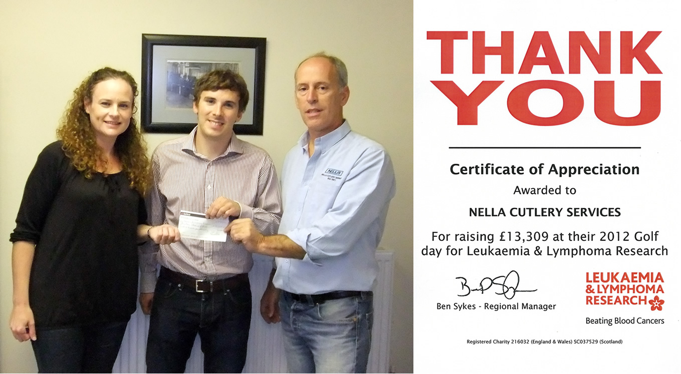 Ben Sykes accepting the donation 2012