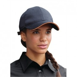 Colour by Chef Works Cool Vent Baseball Cap Black with Orange