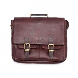 Boldric Messenger Leather Knife Bag Brown 10 Slots