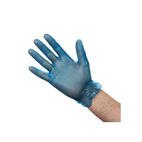 Vogue Vinyl Food Prep Gloves Blue Powdered Large