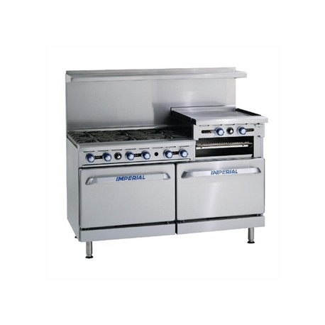 Imperial 6 Burner & Griddle Natural Gas Oven Range IR6RG24-N