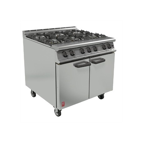 Falcon 6 Burner Dominator Plus Oven Range G3101 Propane Gas with Castors