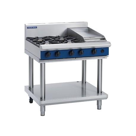 Blue Seal Evolution Cooktop 4 Open/1 Griddle Burner Nat Gas on Stand 900mm G516C-LS/N