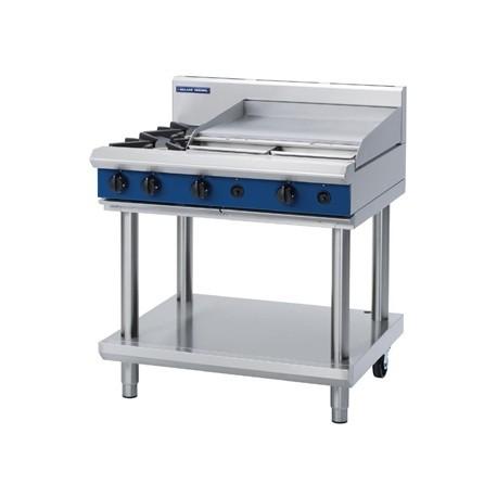 Blue Seal Evolution Cooktop 2 Open/1 Griddle Burner Nat Gas on Stand 900mm G516B-LS/N