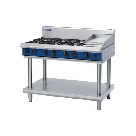Blue Seal Evolution Cooktop 6 Open/1 Griddle Burner LPG on Stand1200mm G518C-LS/L