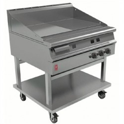 Falcon Dominator Plus 900mm Wide Half Ribbed Griddle on Mobile Stand LPG G3941R