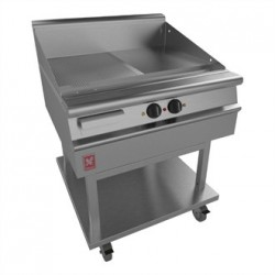 Dominator Plus 800mm Wide Half Ribbed Griddle on Mobile Stand E3481R