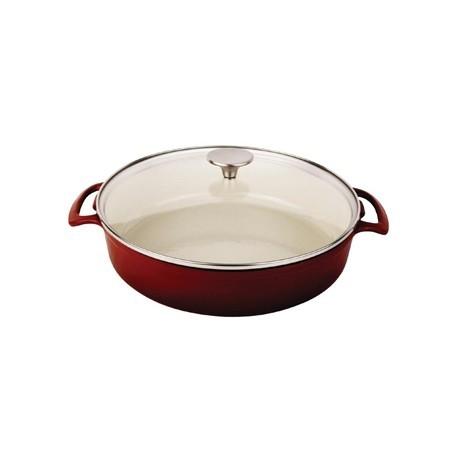 Vogue Round Shallow Casserole Dish Red 3.5L