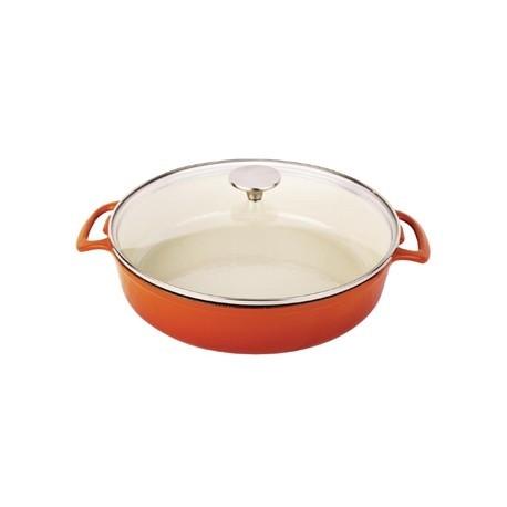 Vogue Round Shallow Casserole Dish Orange 3.5L