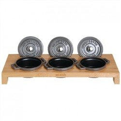 Staub Bamboo Stand for 3 Mini Cocottes