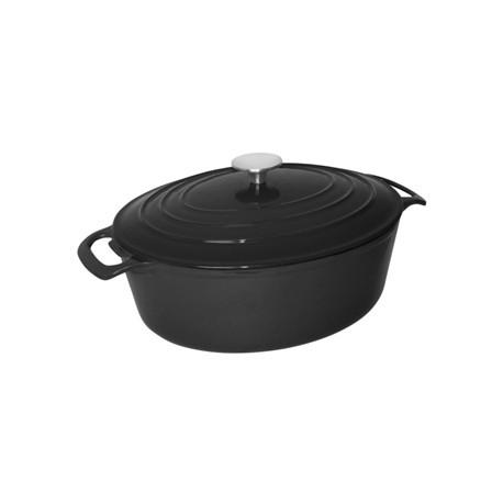 Vogue Black Oval Casserole Dish 5Ltr