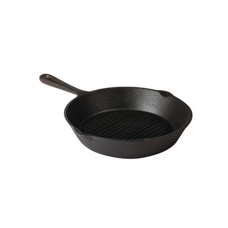 Vogue Round Cast Iron Ribbed Skillet Pan