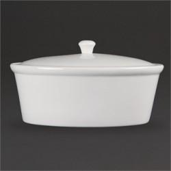 Olympia Whiteware Oval Casserole Pot 3.2Ltr