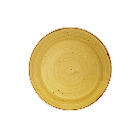 Churchill Stone Cast Mustard Seed Yellow Coupe Plate 165mm
