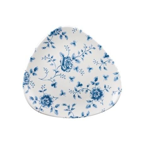Churchill Vintage Prints Blue Rose Chintz Pattern Triangle Plate 229mm