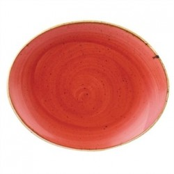 Churchill Stone Cast Berry Red Oval Coupe Plate 192mm