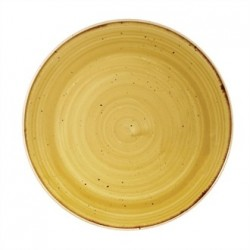Churchill Super Vitrified Stonecast Mustard Seed Yellow Coupe Plate 220mm