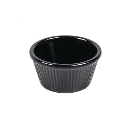 Kristallon Melamine Fluted Ramekins Black 57mm