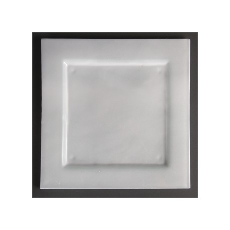 Olympia Square Glass Plates Frosted White 320mm