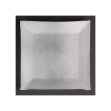 Olympia Square Glass Plates Frosted White 205mm