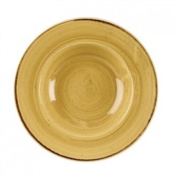 Churchill Stone Cast Mustard Seed Yellow Wide Rim Bowl 280mm