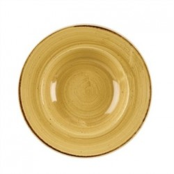 Churchill Stone Cast Mustard Seed Yellow Wide Rim Bowl 240mm