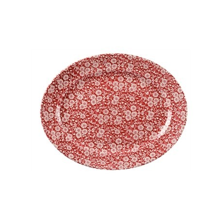Churchill Vintage Prints Oval Dishes Cranberry Print 365mm