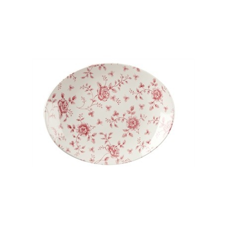 Churchill Vintage Prints Oval Plates Cranberry Rose Print 315mm