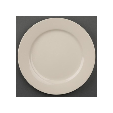 Olympia Ivory Wide Rimmed Plates 230mm