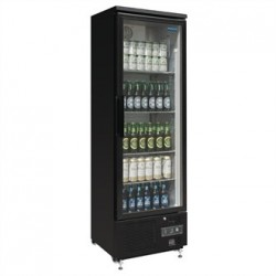 Polar Upright Back Bar Cooler with Hinged Door in Black 307Ltr