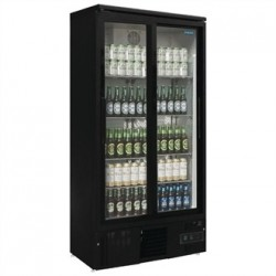 Polar Upright Back Bar Cooler with Sliding Doors in Black 490Ltr