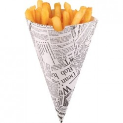 Disposable Newspaper Print Paper Chip Cones