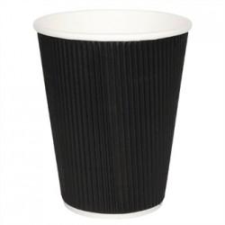 Fiesta Takeaway Coffee Cups Ripple Wall Kraft Black 12oz x25