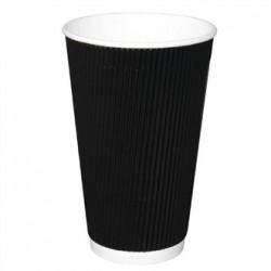 Fiesta Takeaway Coffee Cups Ripple Wall Kraft Black 16oz x25