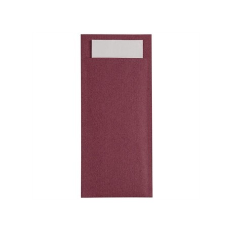 Burgundy Kraft Cutlery pouch with Champagne Napkin