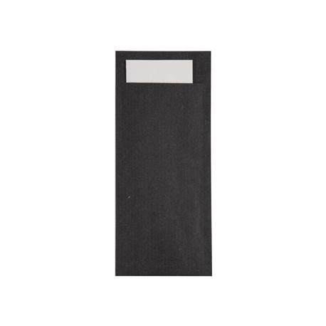 Black Kraft Cutlery Pouch with White Napkin