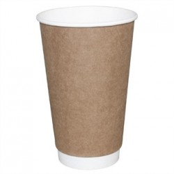 Fiesta Takeaway Coffee Cups Double Wall Kraft 12oz x25