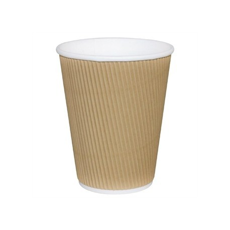 Fiesta Takeaway Coffee Cups Ripple Wall Kraft 12oz x25