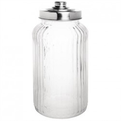 Olympia Ribbed Glass Storage Jar 1.4Ltr