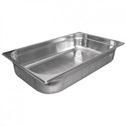 Vogue Stainless Steel Perforated 1/1 Gastronorm Pan 100mm