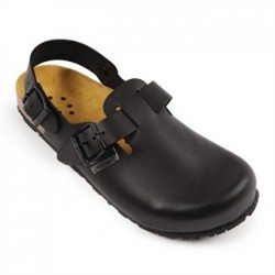 Abeba Black Leather Strap Back Slip On 36