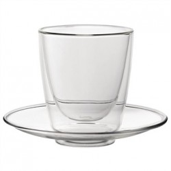 Double walled Cappuccino Glass and Saucer 220ml