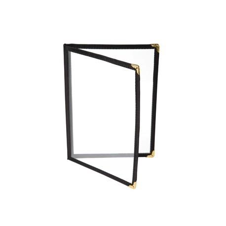 American Style Menu Holder Four Card Black A5