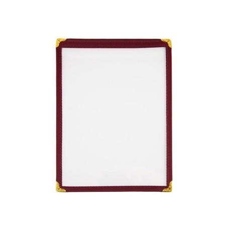 American Style Menu Holder Two Card Burgundy A5