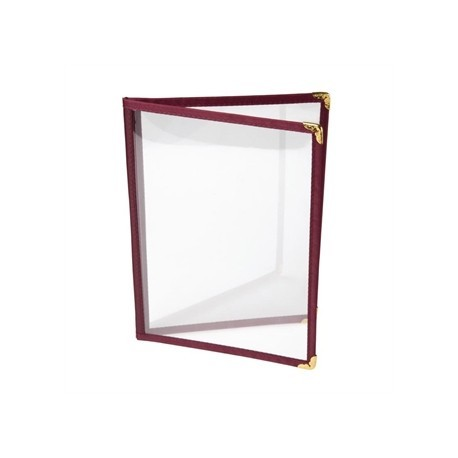 American Style Menu Holder Four Card Burgundy A5