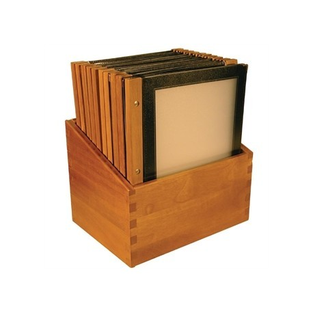 Securit Menu Holders with Wooden Box A4 Black