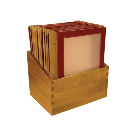 Securit Menu Holders with Wooden Box A4 Red