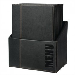 Securit Contemporary Menu Holder Set A4 Black