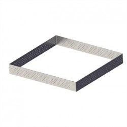 De Buyer Perforated Stainless Steel Square Tart Ring 200 x 20mm