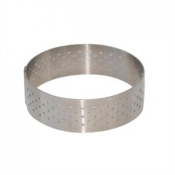 De Buyer Perforated Stainless Steel Tart Ring 105 x 20mm